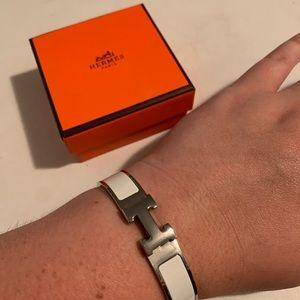 White Enamel H Bracelet